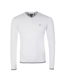 Armani Jeans Mens White C6W15 V Neck Tipped Jumper