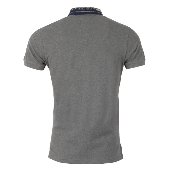 Diesel Mens Grey Serpico Denim Collar Polo Shirt main image