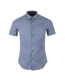 Diesel Mens Blue Leppa Patterned Shirt
