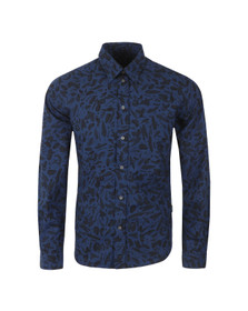 Paul Smith Jeans Mens Blue Tailored Fit Smudge Shirt