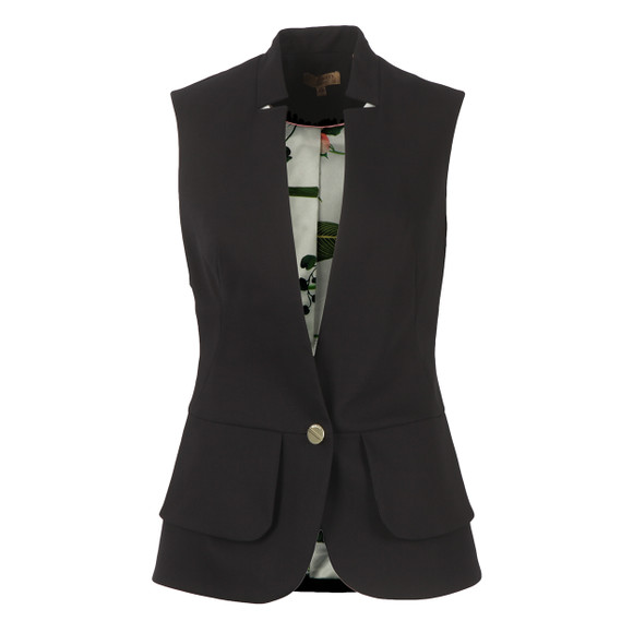 Ted Baker Womens Black Cayciw Peplum Layer Waistcoat
