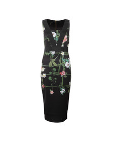 Ted Baker Womens Black Kacied Secret Trellis Elastic Dress
