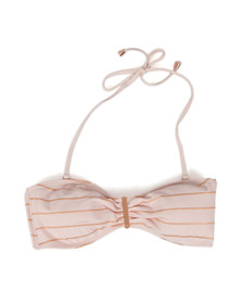 Ted Baker Womens Pink Sataraa Foil Stripe Bandeau Bikini Top