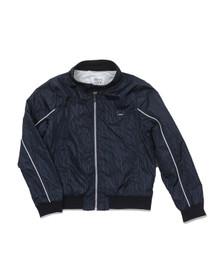 Armani Junior  Boys Blue Allover Logo Bomber Jacket