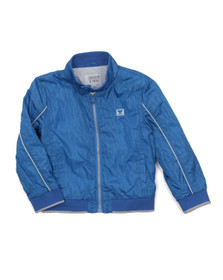 Armani Junior  Boys Blue Allover Logo Bomber Jacket