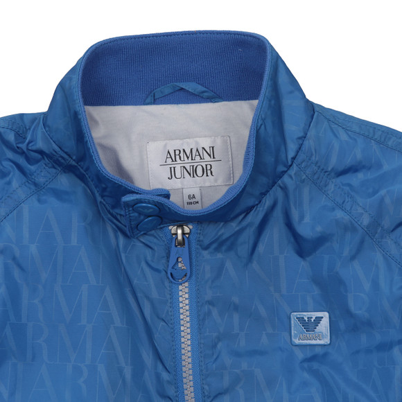 Armani Junior  Boys Blue Allover Logo Bomber Jacket main image