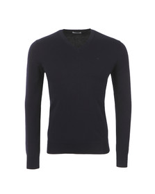 J.Lindeberg Mens Blue Mikael V Neck Cotton Crepe Jumper