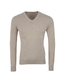 J.Lindeberg Mens Beige Mikael V Neck Cotton Crepe Jumper