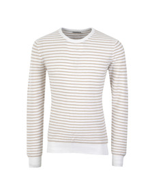 J.Lindeberg Mens White Gordon Rib Stripe Jumper