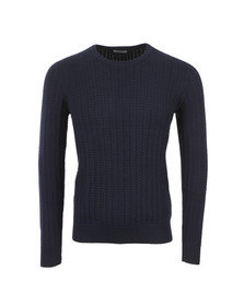 J.Lindeberg Mens Blue Collino Cable Knit Jumper