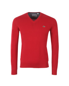 Lacoste Mens Red AH7417 V-Neck Jumper