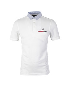 Fred Perry Mens White Woven Collar Oxford S/S Polo