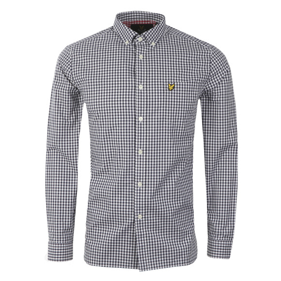 Lyle and Scott Mens Blue Gingham Check LS Shirt main image