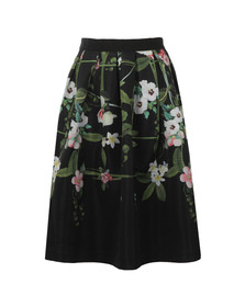 Ted Baker Womens Black Emmalin Secret Trellis Midi Full Skirt