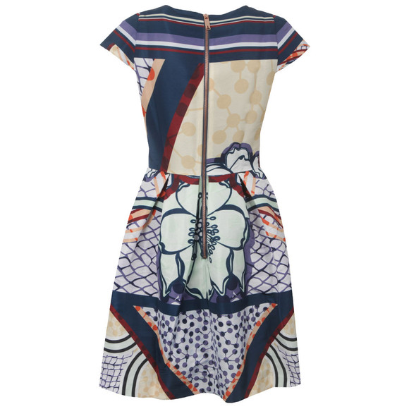 Ted Baker Womens Purple Wrennie Tribal Print Cap Sleeve Dress main image