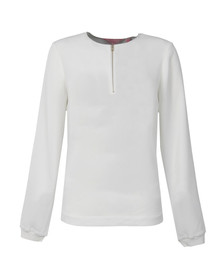 Ted Baker Womens Off-white Sazzie Zip Front Top