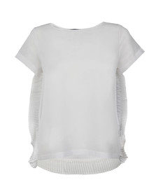 French Connection Womens White Polly Plains Frill T Shirt