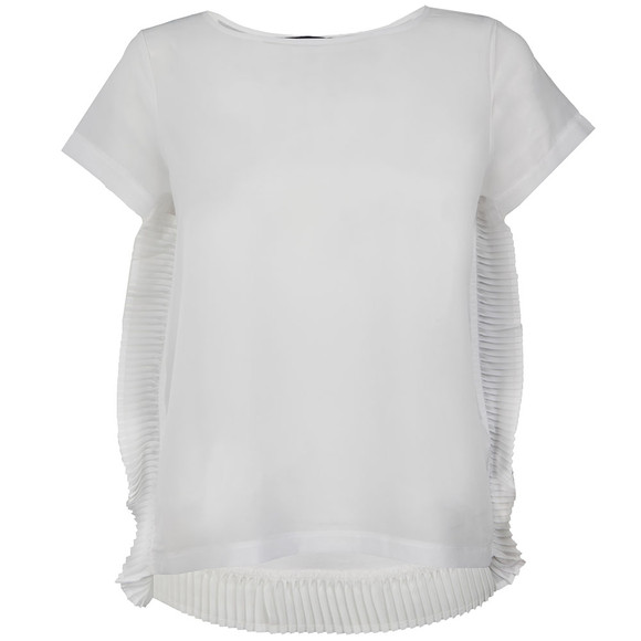 French Connection Womens White Polly Plains Frill T Shirt main image