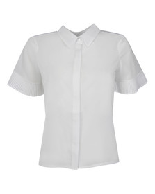 French Connection Womens White Polly Plains Fluted Sleeve Top