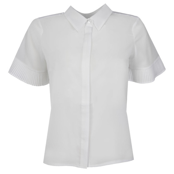 French Connection Womens White Polly Plains Fluted Sleeve Top main image