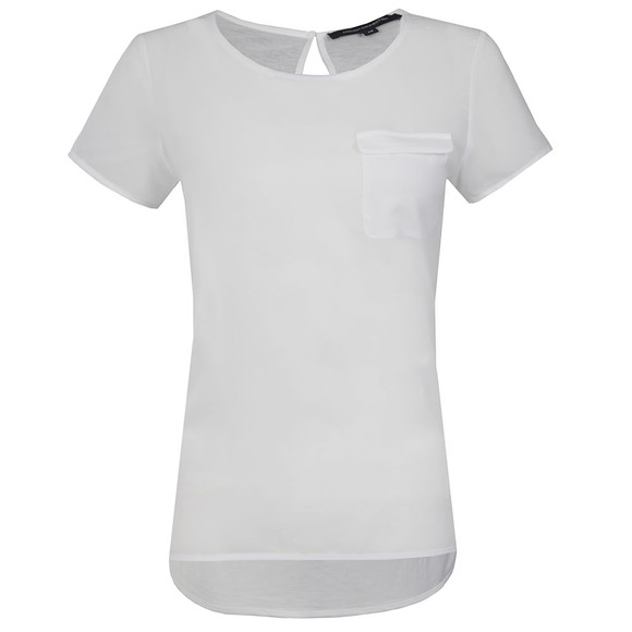 French Connection Womens White Polly Plains Pocket T Shirt main image