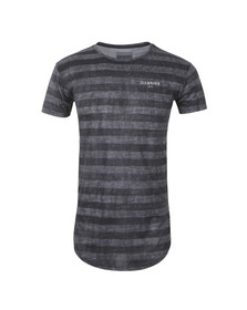 Illusive Mens Grey Curved Hem Burn Out T Shirt