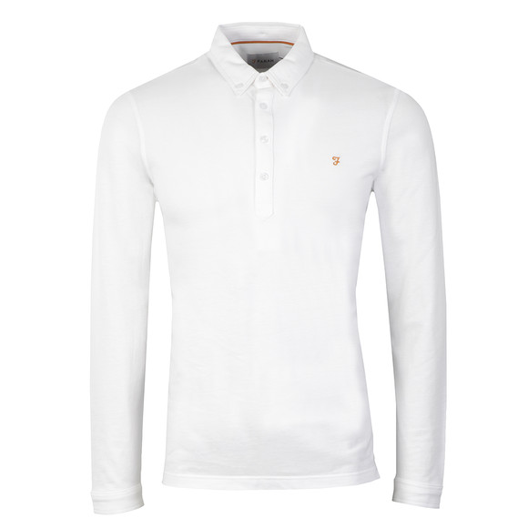 Farah Mens White Merriweather L/S Polo Shirt main image