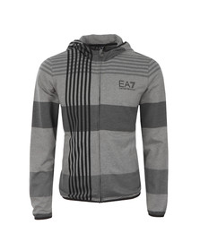 EA7 Emporio Armani Mens Grey Train 7 Lines Graphic Hoody