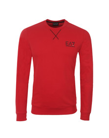 EA7 Emporio Armani Mens Red Small Logo Crew Sweatshirt