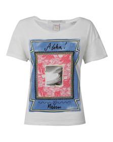 Maison Scotch Womens White Cotton Slub T Shirt