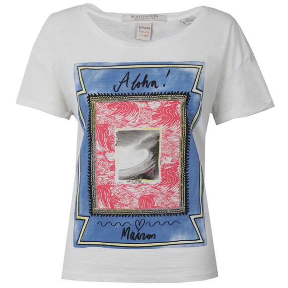 Maison Scotch Womens White Cotton Slub T Shirt main image