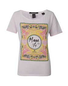 Maison Scotch Womens Pink Cotton Slub T Shirt