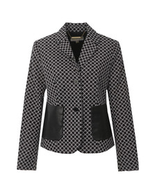 Michael Kors Womens Black 2 Button Patterned Blazer