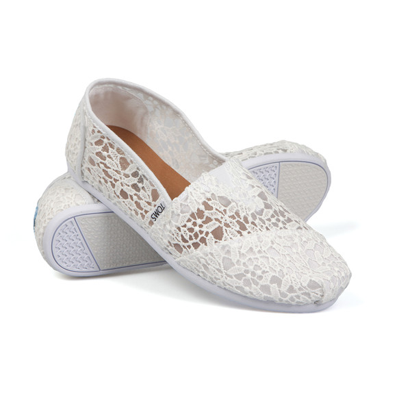 Toms Womens White Lace Leaves Espadrille main image