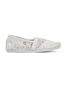Toms Womens White Lace Leaves Espadrille