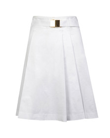 Michael Kors Womens White Belted Pleated Skirt
