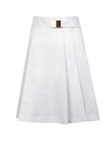 Michael Kors Womens White Belted Pleated Skirt