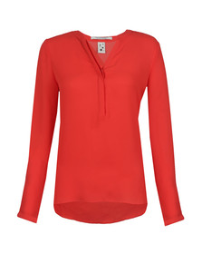 Maison Scotch Womens Red Easy Long Sleeve Top