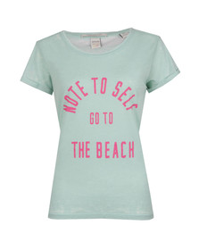 Maison Scotch Womens Green Beach Burn Out T Shirt