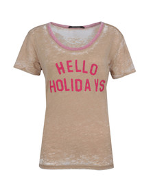 Maison Scotch Womens Beige Burnout T Shirt