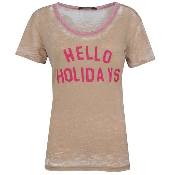 Maison Scotch Womens Beige Burnout T Shirt main image