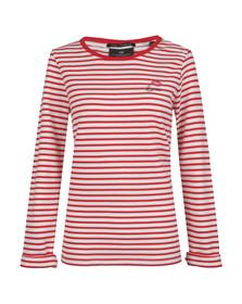 Maison Scotch Womens Red Long Sleeve Stripe Sweat