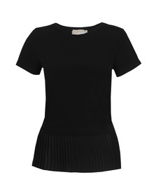Michael Kors Womens Black Woven Pleat Hem Top