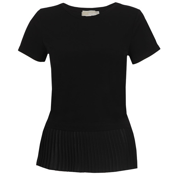Michael Kors Womens Black Woven Pleat Hem Top main image