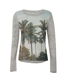 Maison Scotch Womens Grey Long Sleeve Printed Top