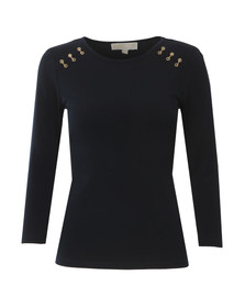 Michael Kors Womens Blue Metal Trim Long Sleeve Top