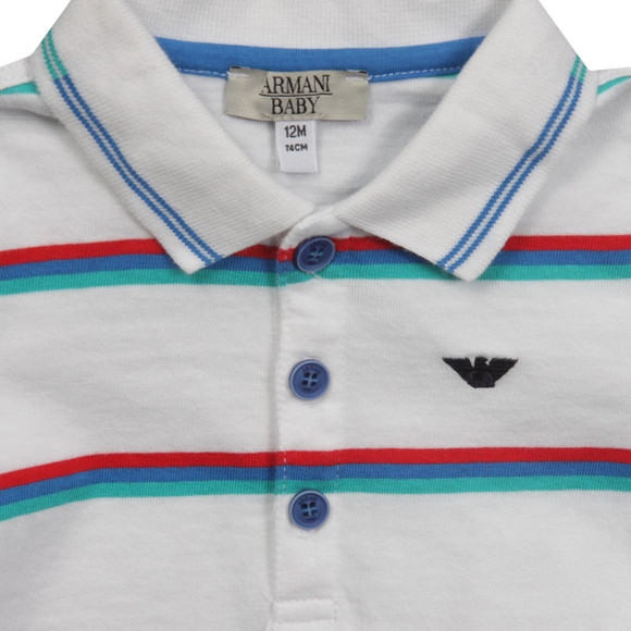 Armani Baby Boys White CDF05 Stripe Polo Shirt main image