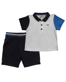 Armani Baby Boys White Polo Shirt + Short Set