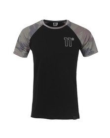 Eleven Degrees Mens Black Raglan Camo T Shirt