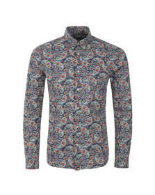 Pretty Green Mens Blue Alvey Paisley Shirt